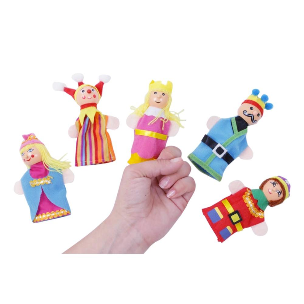 Assortiment de marionnettes doigts de couleurs.