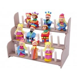 Assortiment de marionnettes doigts de couleurs avec leurs présentoirs.
