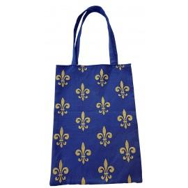 Sac textile à motifs de fleurs de lys en coton et polyester