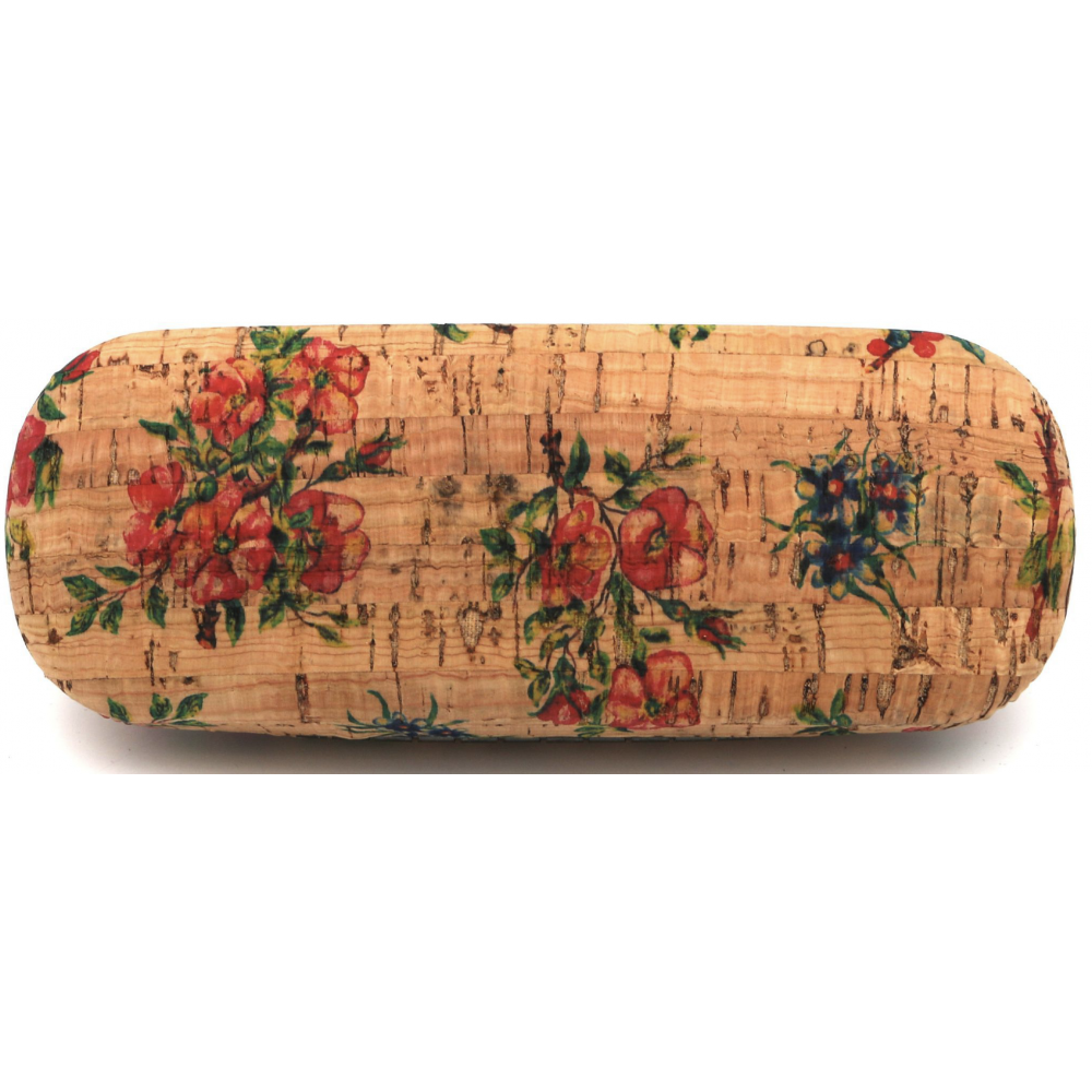 Étui à lunettes en liège naturel avec motifs floraux