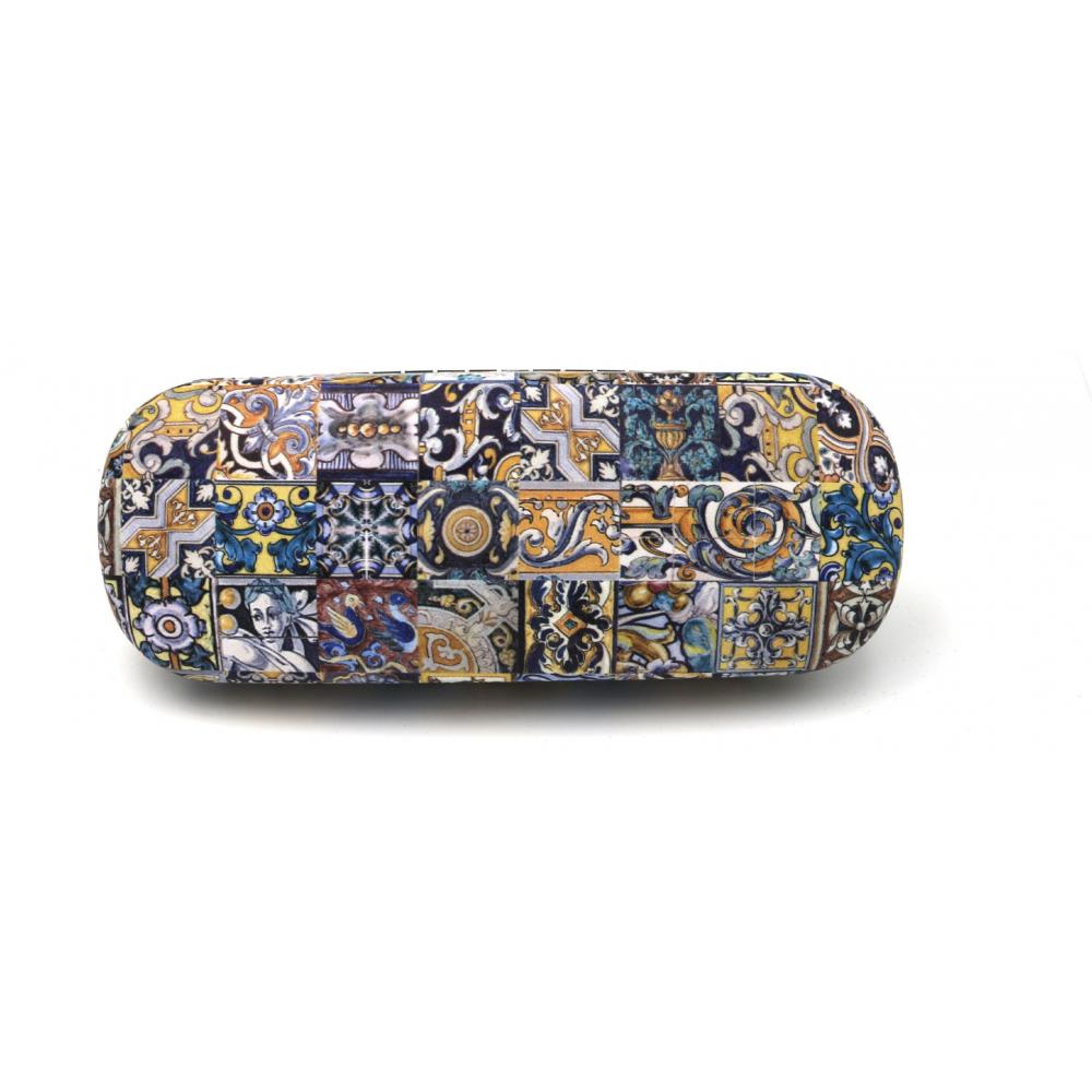 Étui à lunettes en liège naturel avec motifs variés bleu et jaune