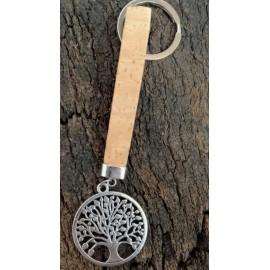 Porte-clé en liège naturel avec pendentif métalique arbre cercle métal.