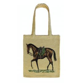 sac textile effet tapisserie avec un motif de cheval