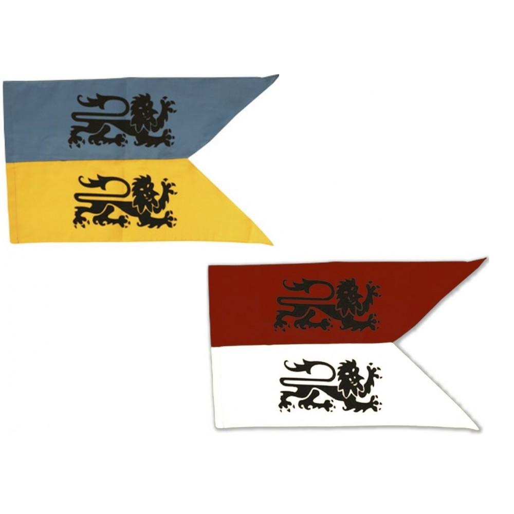 mix drapeau deux lions bleu-jaune et rouge-blanc