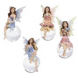 Assortiment de 4 fées avec boule en verre