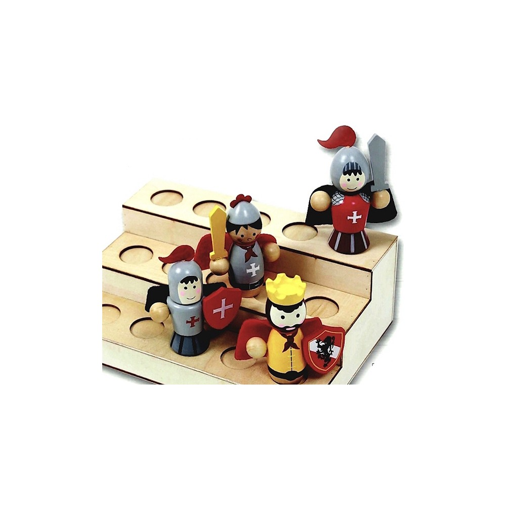 Présentoir pour figurines en bois. Capacité d'exposition de 15 figurines.