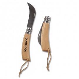 couteau serpette naturel avec manche en bois personnalisable