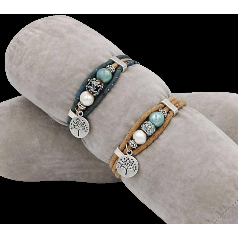 2 bracelets en liège naturel avec trois perles centrées