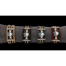 Bracelet 4 lanières avec une chouette sur le milieu