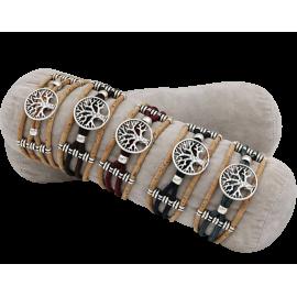 5 bracelets en liège naturel avec un arbre métallique