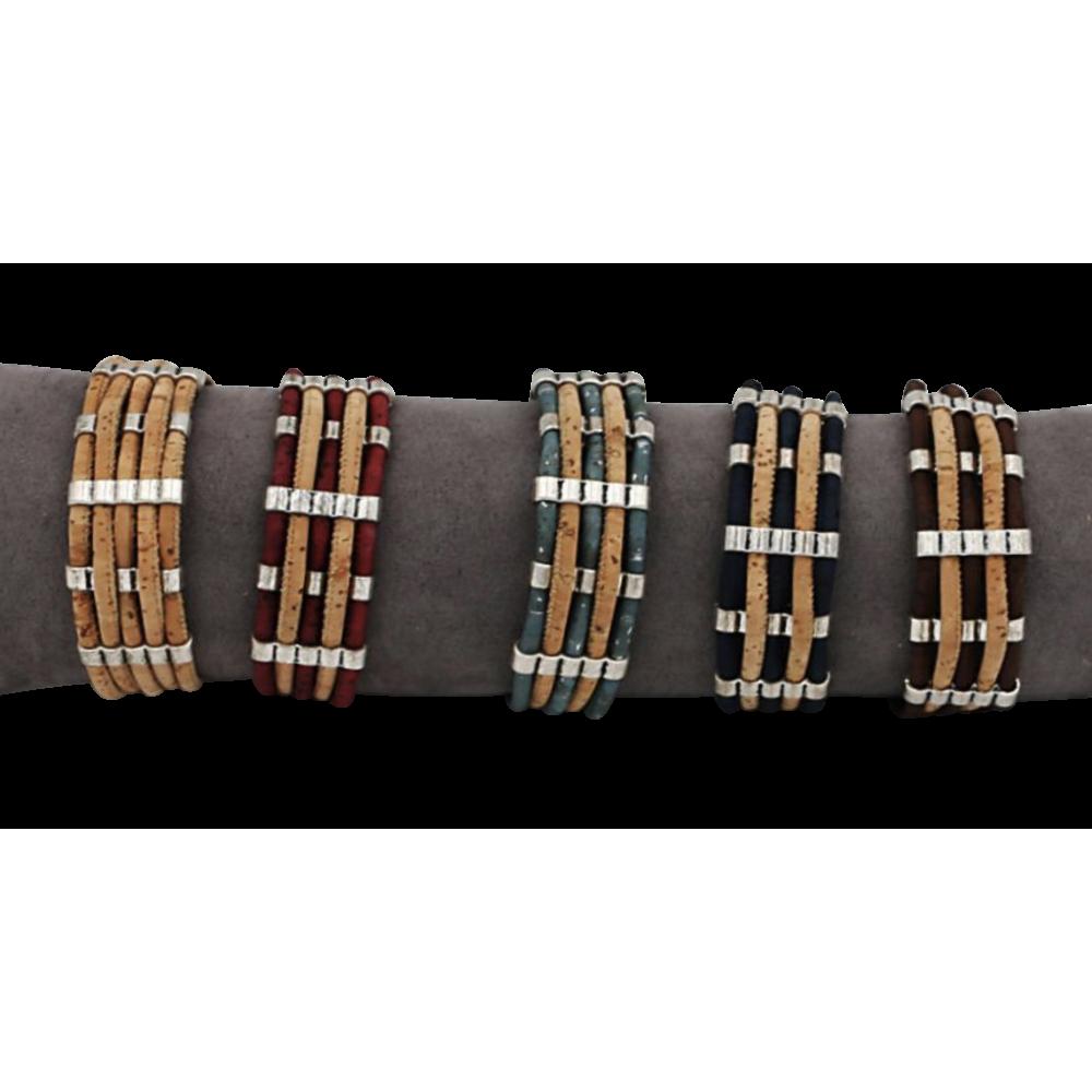 5 bracelet en liège naturel composé de 5 lanières rondes de liège
