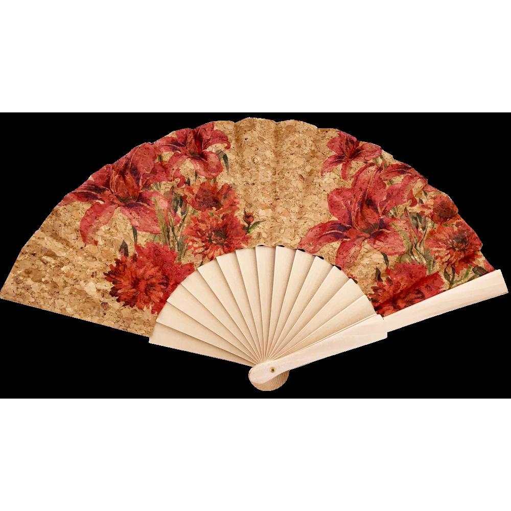 Éventail en liège naturel avec motifs floraux de couleurs rouges.