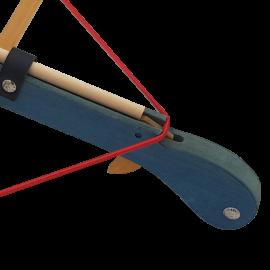 zoom mécanisme arbalète bleu