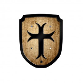 Bouclier en bois style vieilli avec écusson de Croix de templier