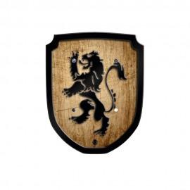 Bouclier en bois style vieilli avec écusson de Lion